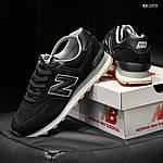 Мужские замшевые кроссовки New Balance 574 (черные) KS 1373, фото 6