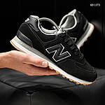 Мужские замшевые кроссовки New Balance 574 (черные) KS 1373, фото 8