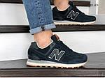Мужские замшевые кроссовки New Balance 574 (синие) KS 1376, фото 2