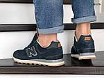 Мужские замшевые кроссовки New Balance 574 (синие) KS 1376, фото 3