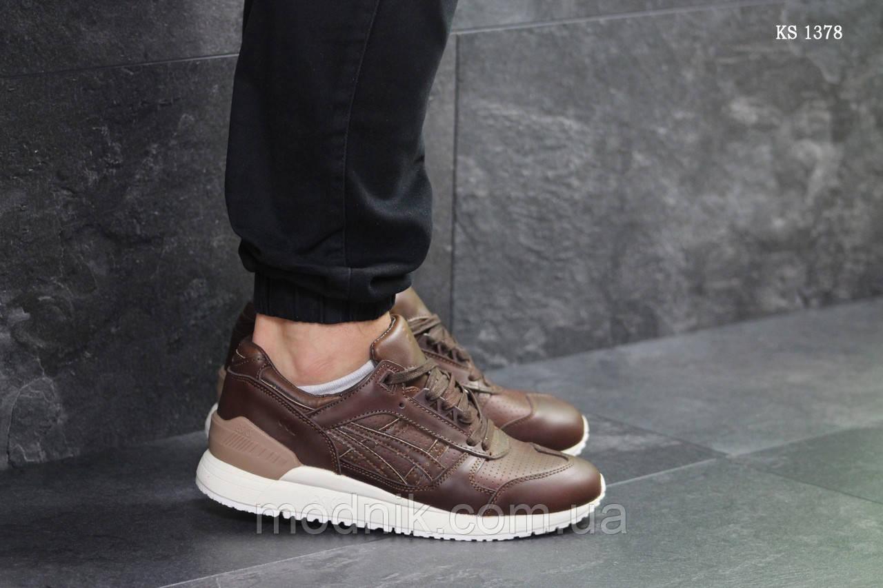 Мужские кожаные кроссовки Asics Gel III (коричневые) KS 1378