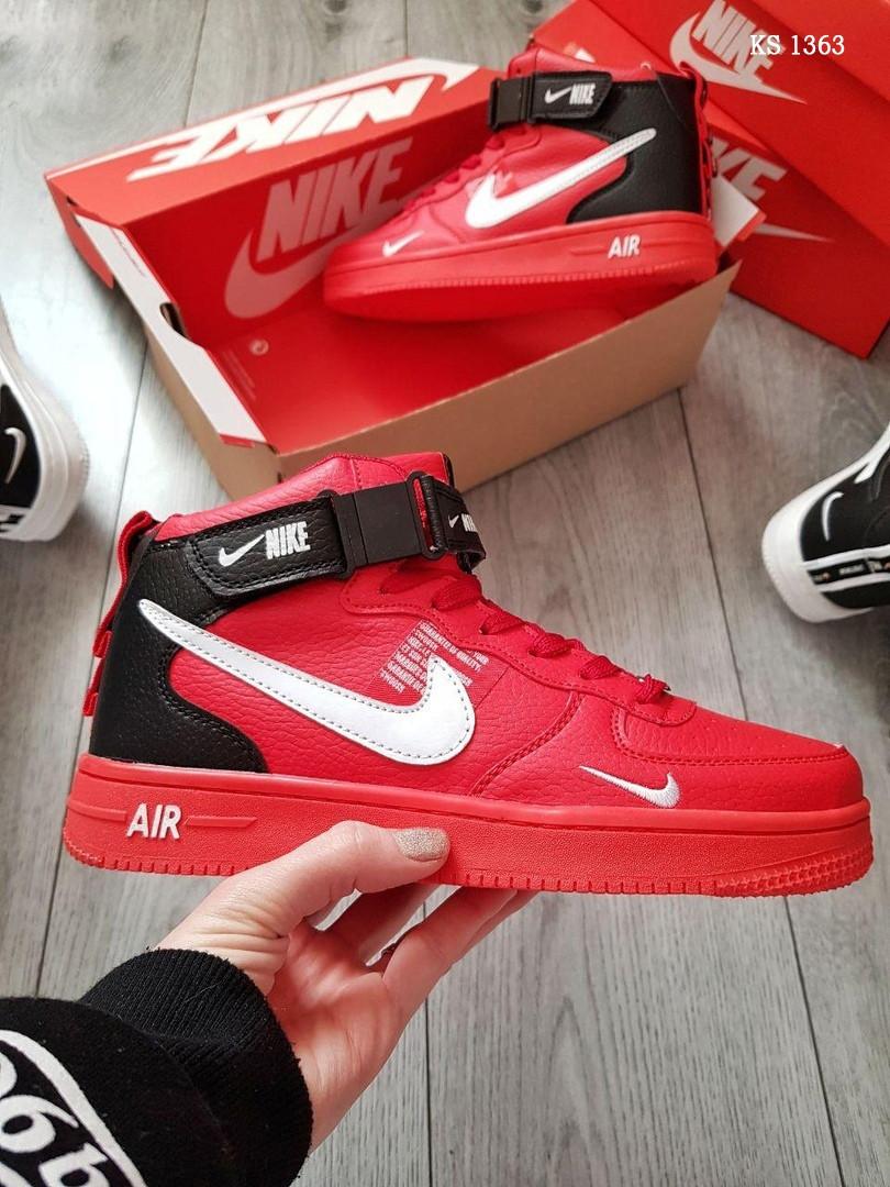 Мужские кроссовки Nike Air Force 1 07 Mid LV8 (красные) KS 1363