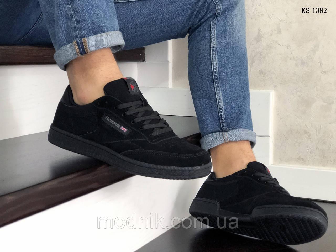 Мужские замшевые кроссовки Reebok (черные) KS 1382