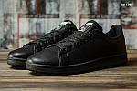 Мужские кожаные кроссовки Adidas Stan Smith (черные) KS 1385, фото 2