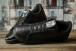 Мужские кожаные кроссовки Adidas Stan Smith (черные) KS 1385, фото 3