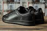 Мужские кожаные кроссовки Adidas Stan Smith (черные) KS 1385, фото 4