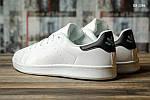 Мужские кожаные кроссовки Adidas Stan Smith (бело-черные) KS 1386, фото 3