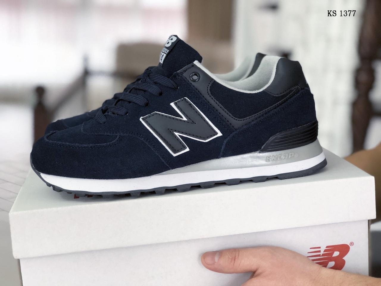 Мужские замшевые кроссовки New Balance 574 (синие) KS 1377