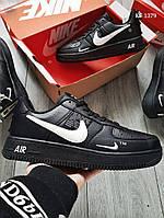 Мужские кожаные кроссовки Nike Air Force 1 LV8 (черно-белые) KS 1379