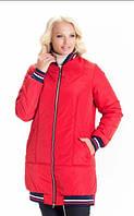 Женская куртка демисезонная свободного стиля 42-56 р красный, синий, оливка цвет