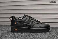 Мужские кожаные кроссовки Nike Air Force 1 LV8 (черно-оранжевые) KS 1380