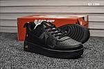 Мужские кожаные кроссовки Nike Air Force 1 LV8 (черно-оранжевые) KS 1380, фото 7