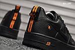 Мужские кожаные кроссовки Nike Air Force 1 LV8 (черно-оранжевые) KS 1380, фото 8
