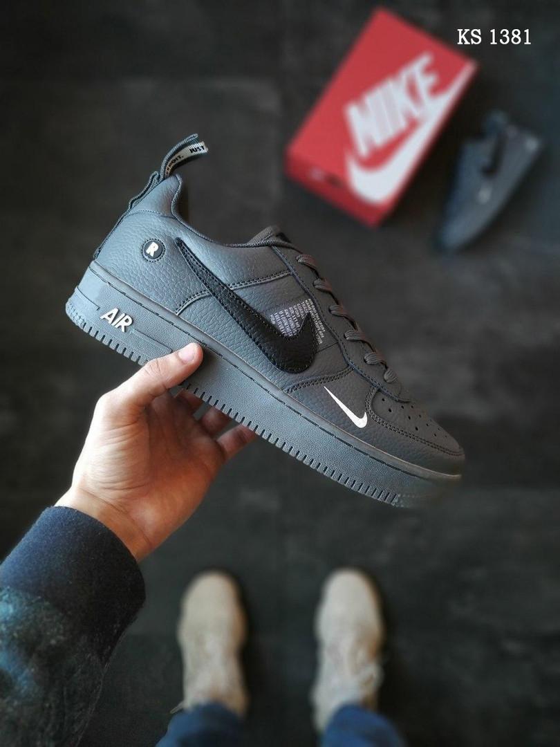 Мужские кожаные кроссовки Nike Air Force 1 LV8 (серые) KS 1381