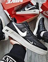Мужские кожаные кроссовки Nike Air Force 1 LV8 (черно-белые) KS 1388
