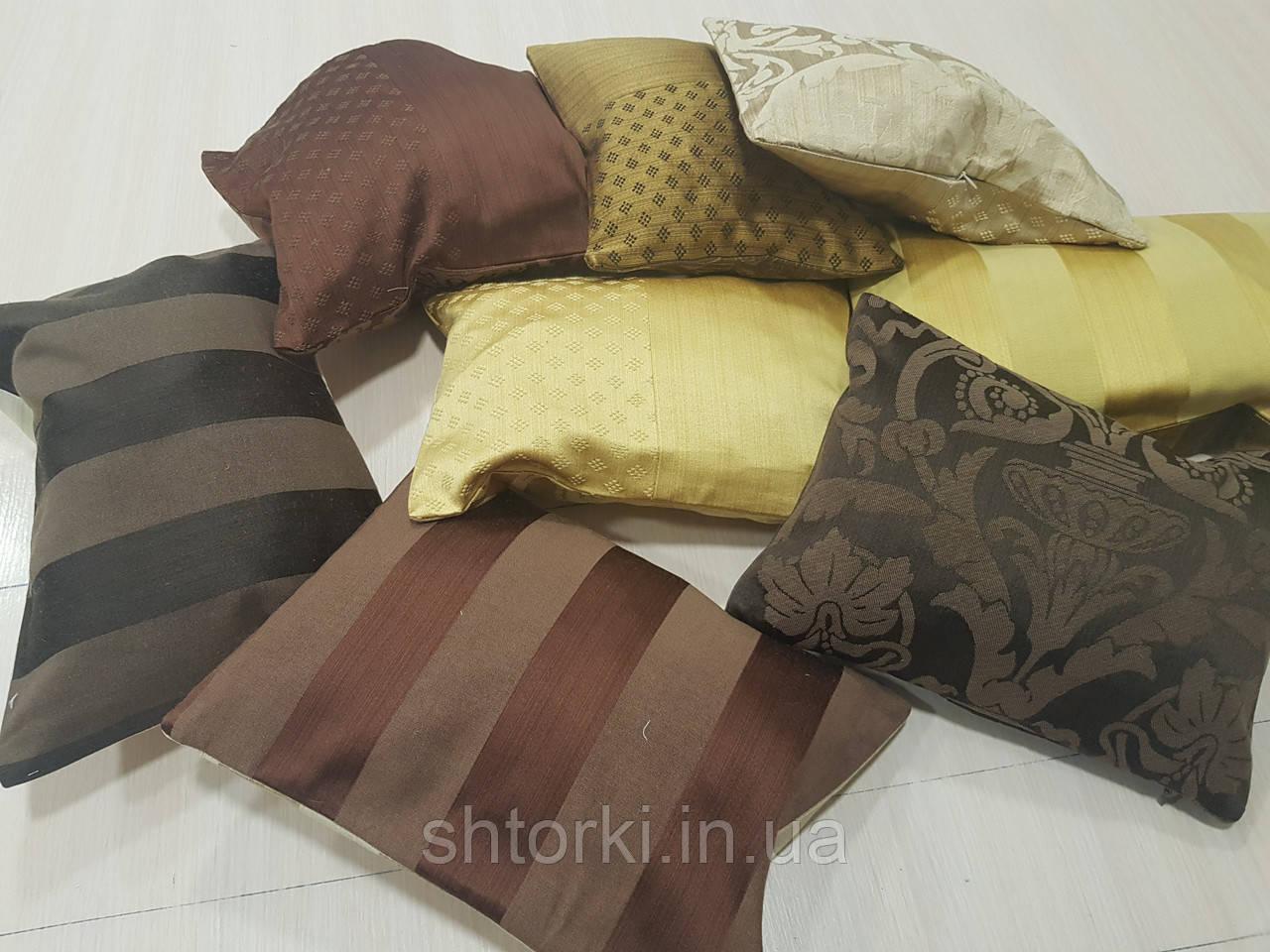 Комплект подушек золото, шоколад, коричневые 8шт