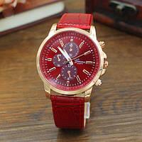 Женские наручные часы Geneva Classic красные, фото 1