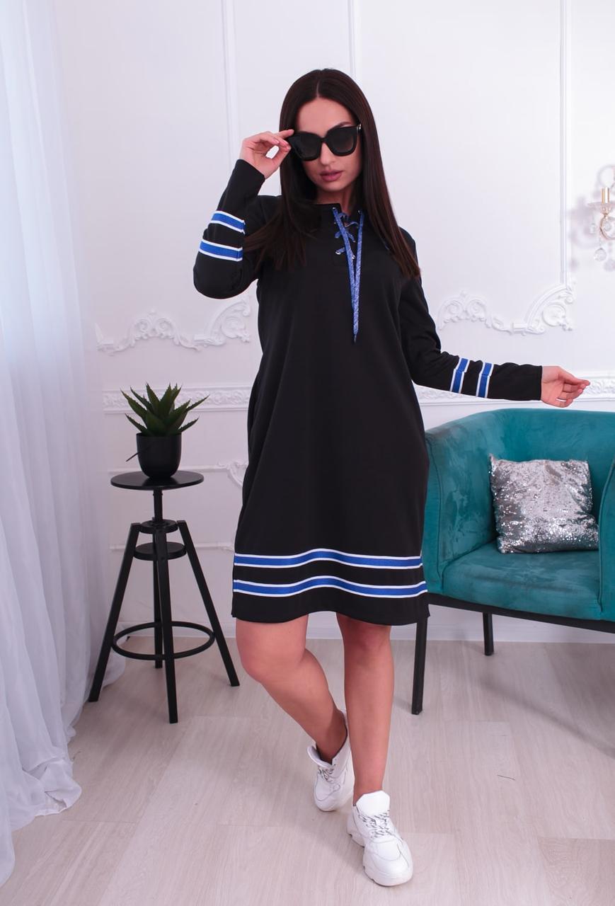 Модное платье спортивного стиля с полосками на подоле и рукавах 48-62