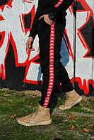Штаны утеплённые чёрные с красно-белыми лампасами Карра