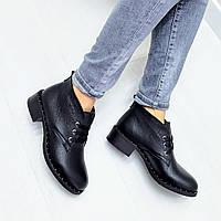 Повседневные женские ботильоны ботинки низкие на среднем каблуке весна осень натуральные кожаные черные