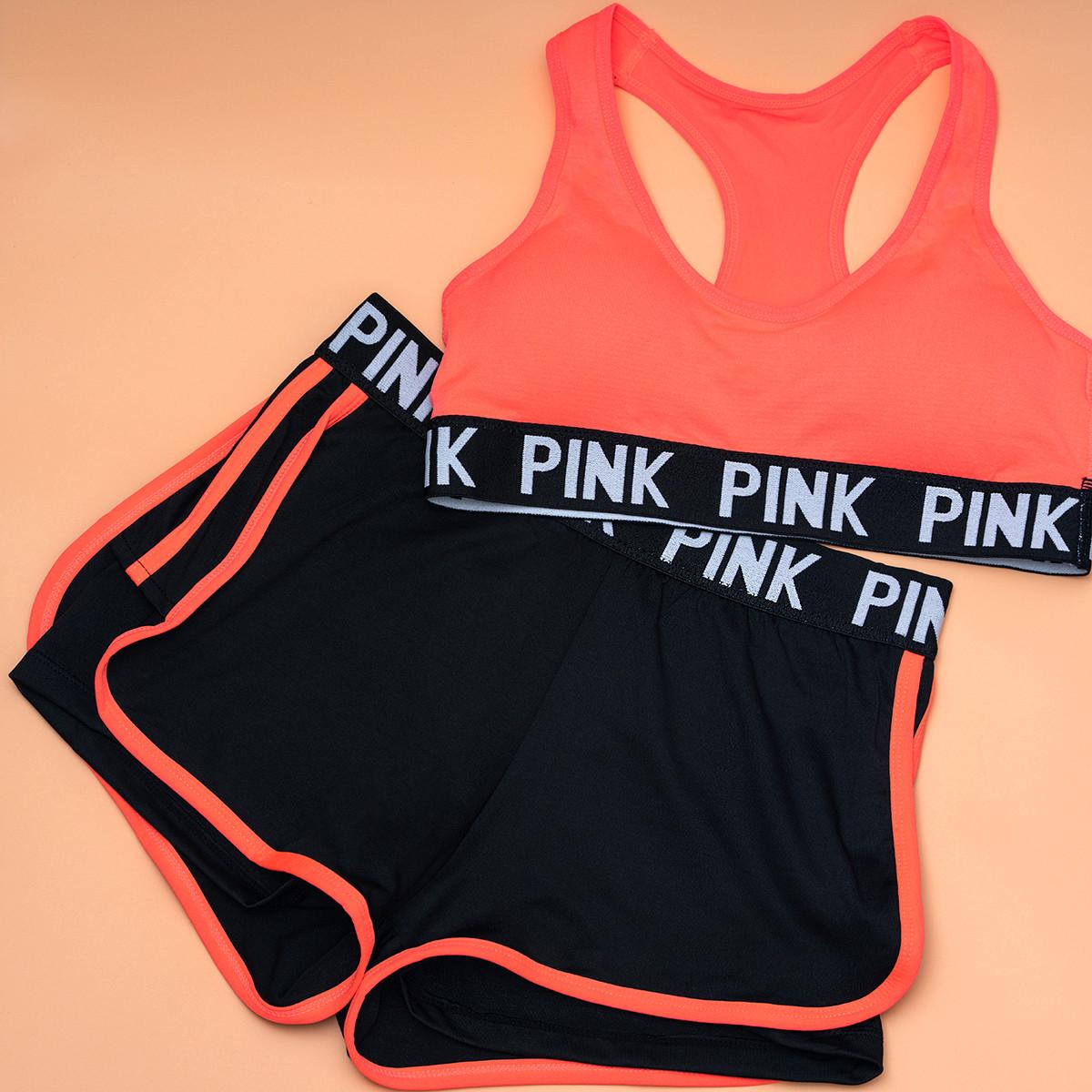 Комплект белья   PINK   спортивный   топ A/B + шортики