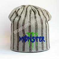 Шапка Monster Energy светло-серая, подклад из флиса