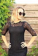 Кружевное платье черное
