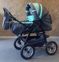 Детская коляска-трансформер Таурус Trans Baby, т.серый+бирюза (8/x99)