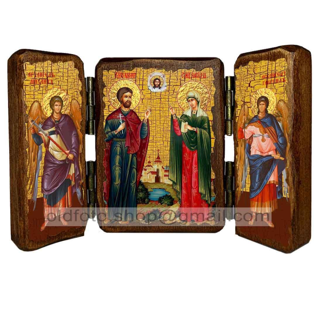 Икона Адриан и Наталия Святые Мученики  ,икона на дереве 260х170 мм