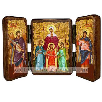 Икона Вера, Надежда, Любовь и мать их София Святые Мученицы  ,икона на дереве 260х170 мм