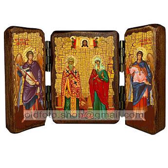 Икона Киприан и Иустина Святые Великомученики  ,икона на дереве 260х170 мм