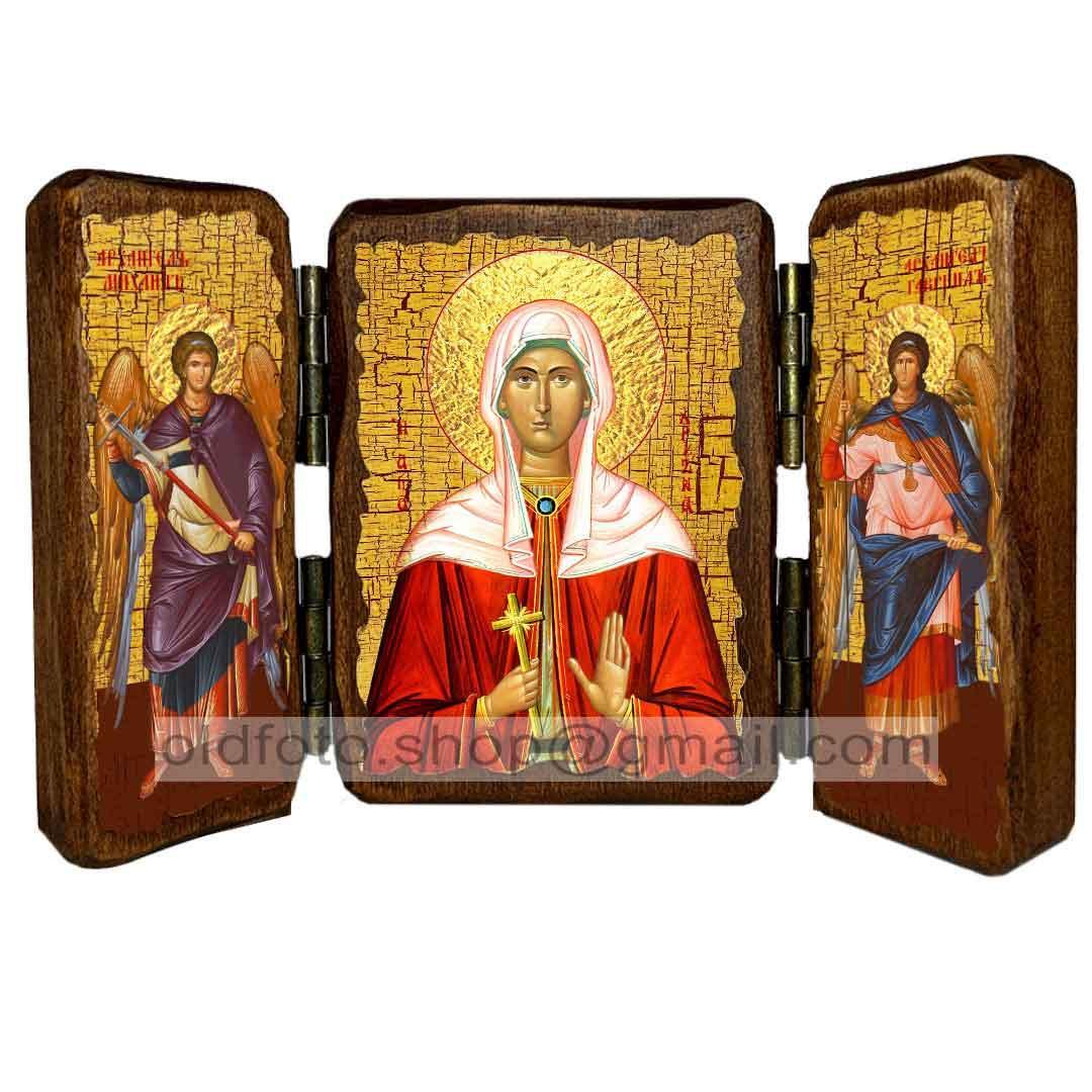 Ікона Христина (Христина) Свята Мучениця (складень потрійний 260х170 мм)