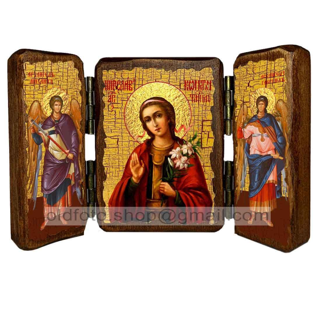 Икона Мирослава Святая мученица (складень тройной 140х100мм)