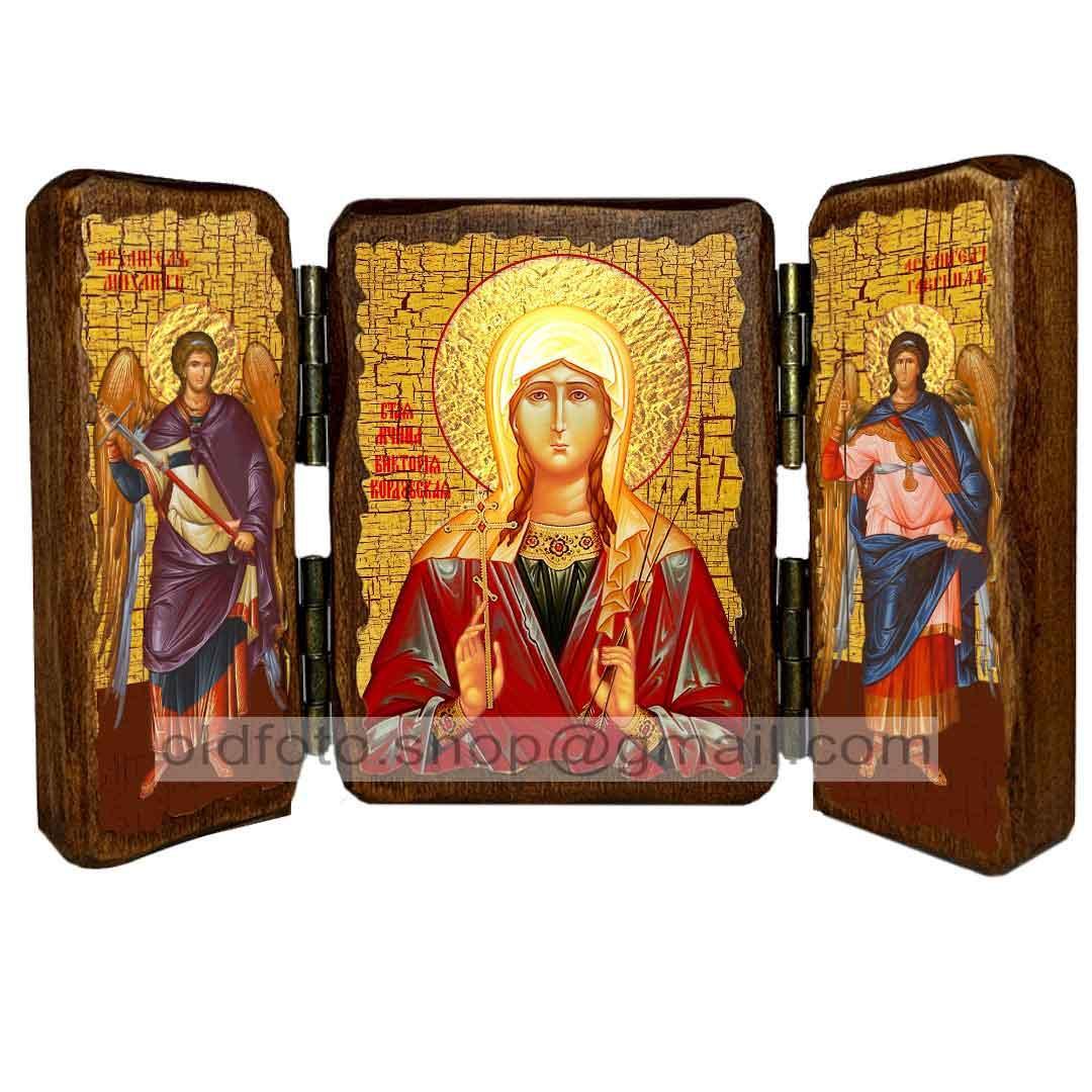Ікона Вікторія (Ніка) Свята Мучениця Коринфська (складень потрійний 260х170 мм)