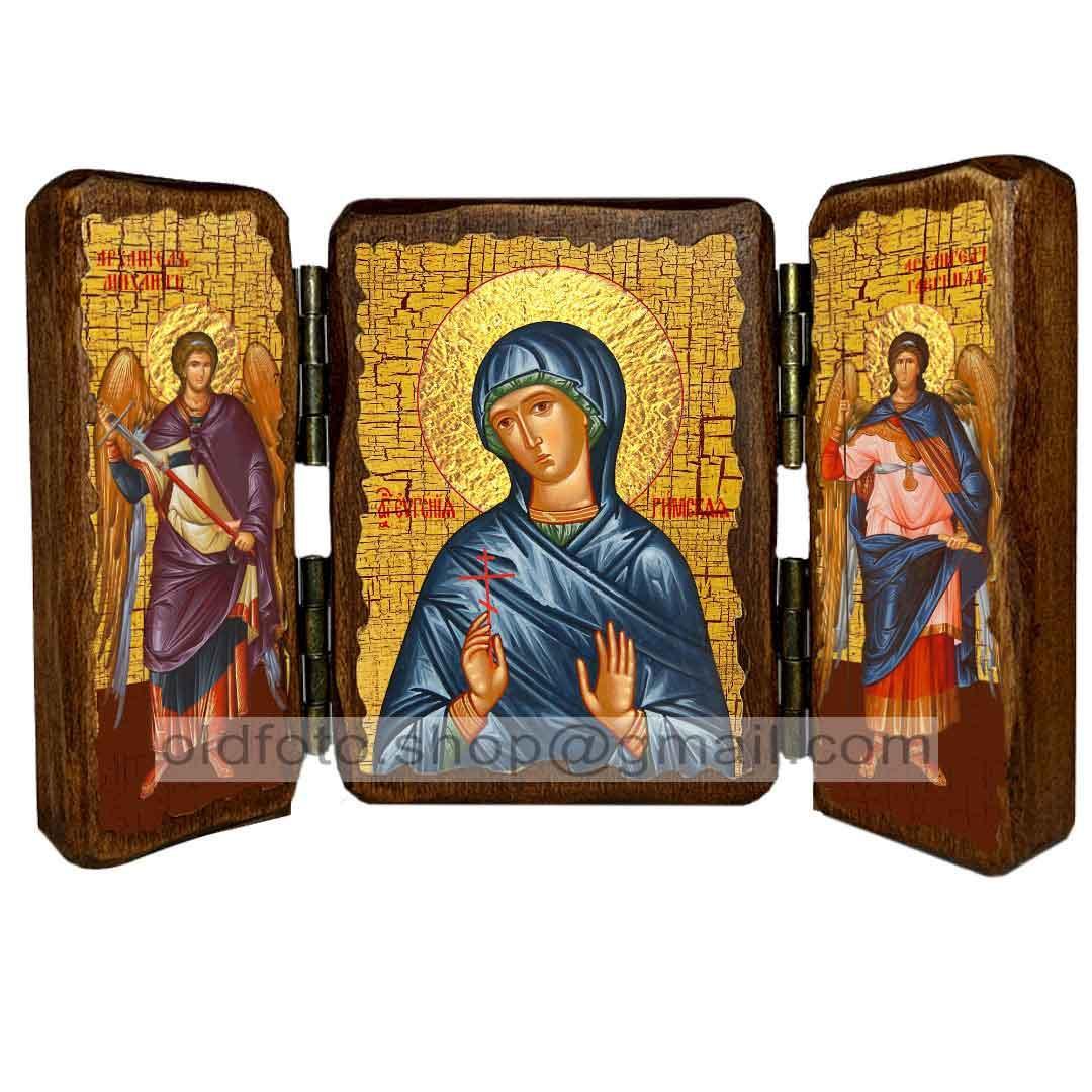 Икона Евгения Преподобномученица Римская  ,икона на дереве 260х170 мм