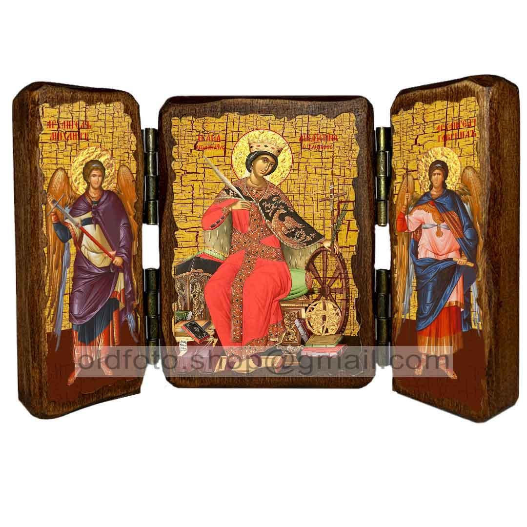 Икона Екатерина Святая Великомученица Александрийская  ,икона на дереве 260х170 мм