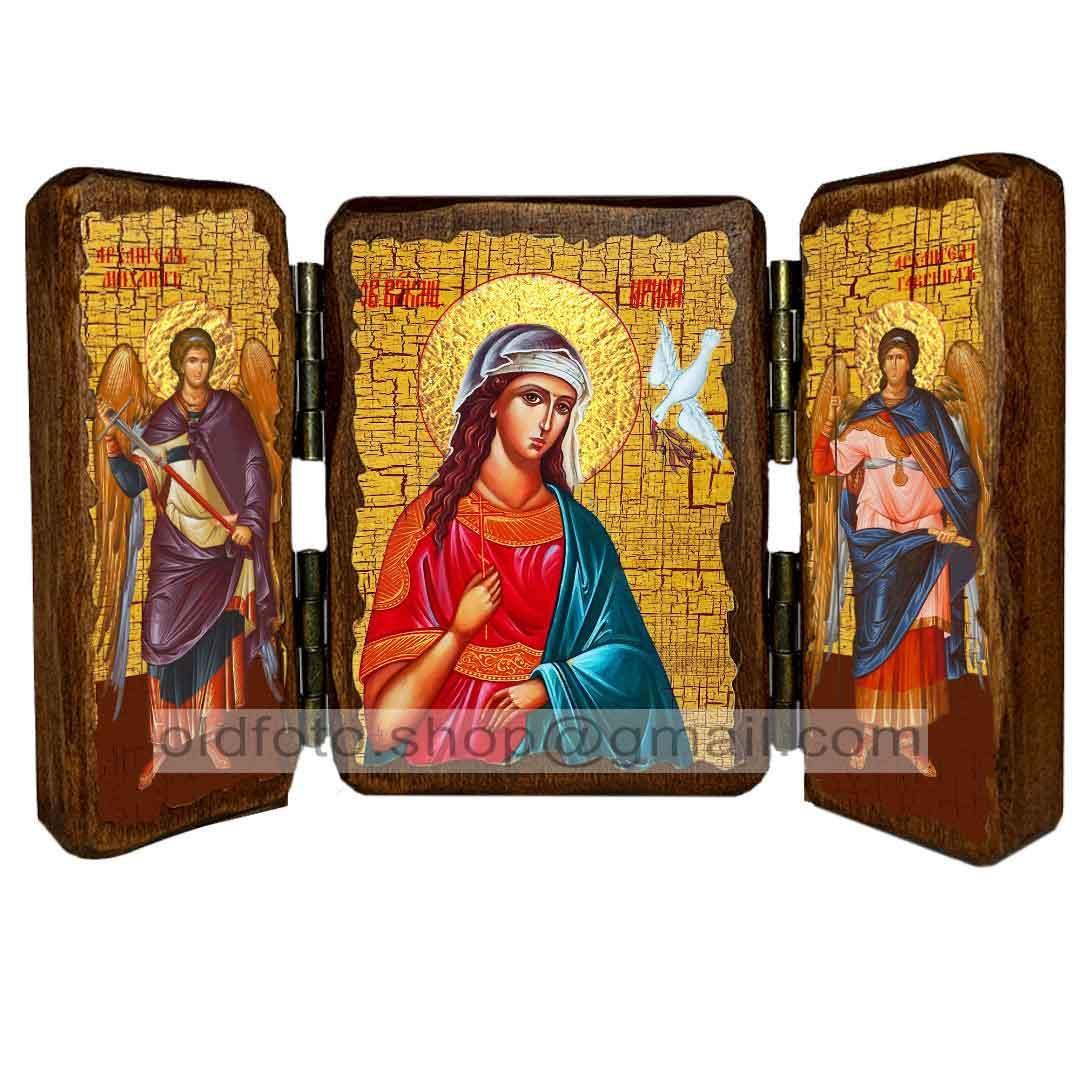 Икона Ирина Святая Великомученица (складень тройной 140х100мм)
