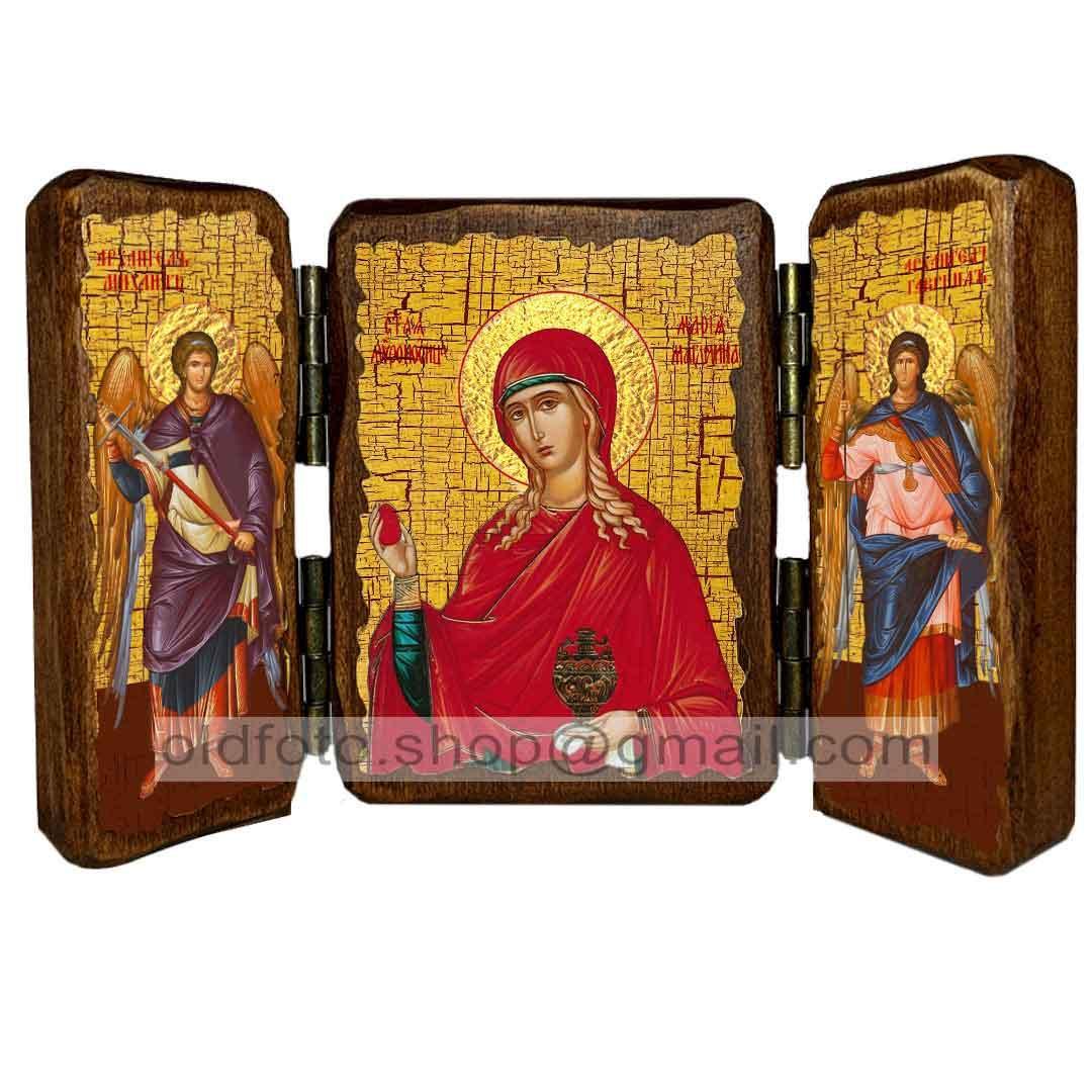 Ікона Свята Рівноапостольна Марія Магдалина (складень потрійний 260х170 мм)