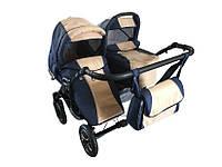 Универсальная детская коляска 2 в 1 Trans baby Jumper  т.синий+беж (Lux20/Lux24)