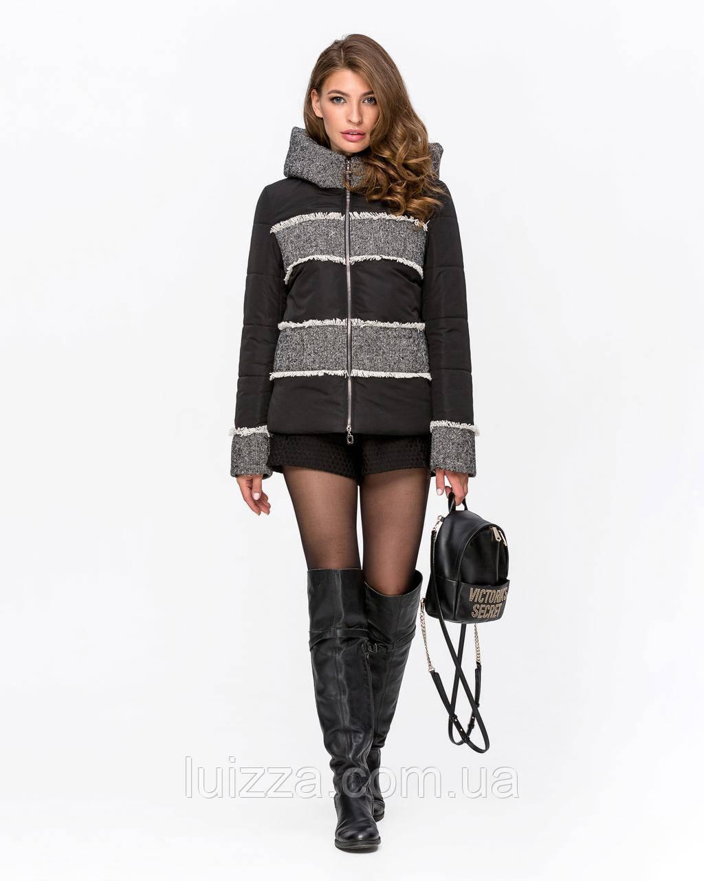 Куртка комбинированная с твидом черная 42-50р