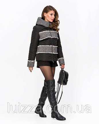 Куртка комбинированная с твидом черная 42-50р, фото 2