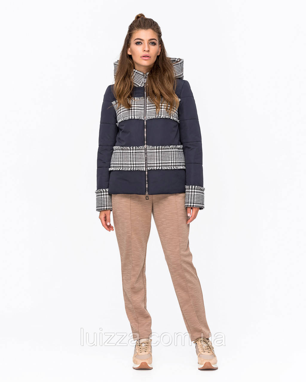 Куртка комбинированная с твидом синяя 42-50р