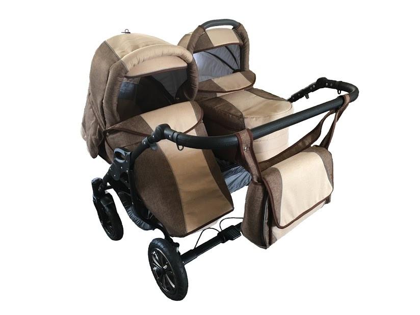 Универсальная детская коляска 2 в 1 Trans baby Jumper коричневый+беж (Lux03/Lux24)