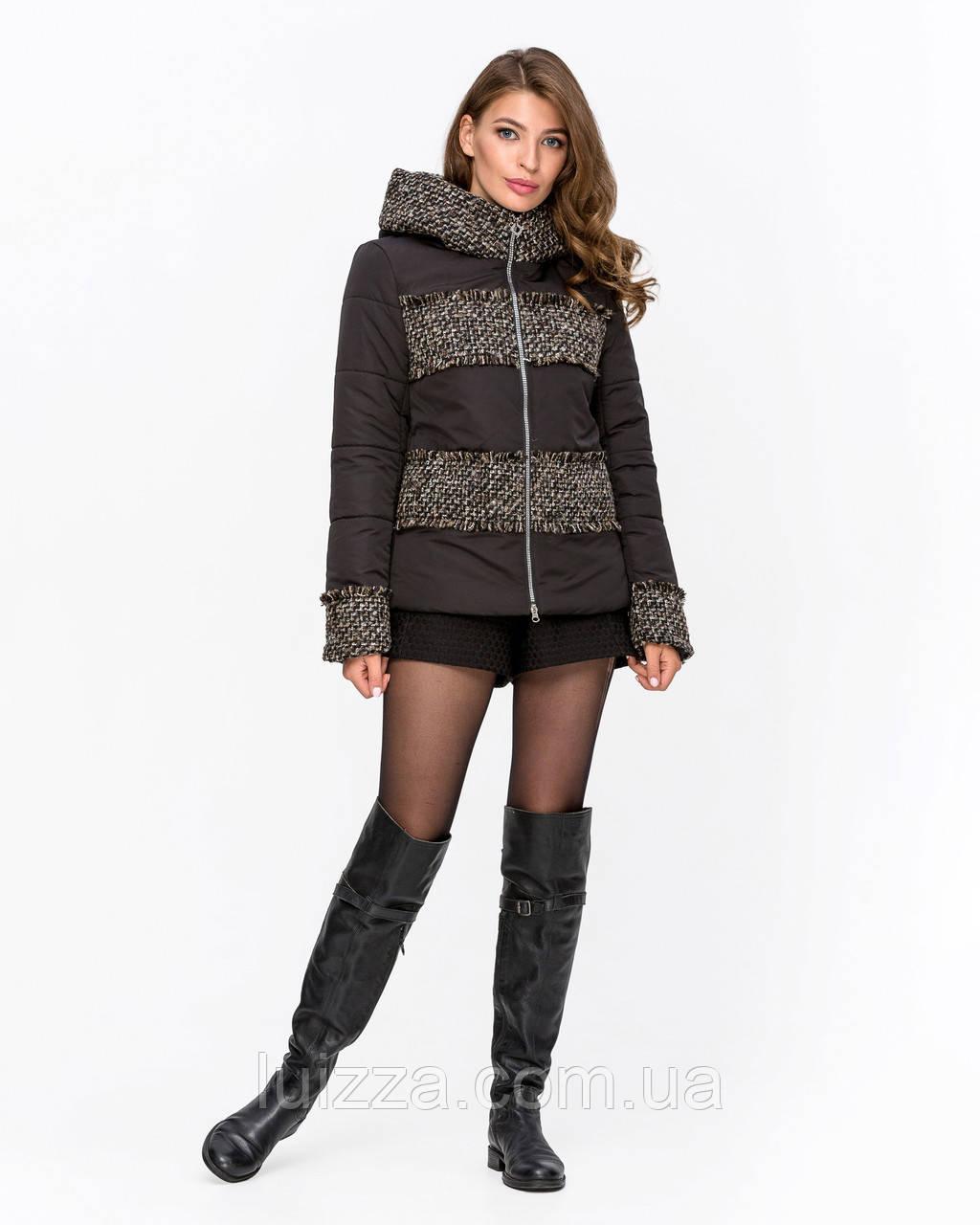 Куртка комбинированная с твидом темно-сер 42-50р
