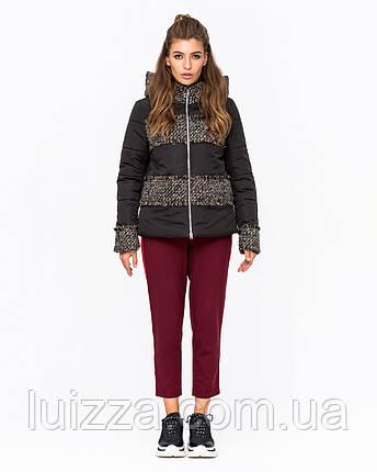 Куртка комбинированная с твидом темно-сер 42-50р, фото 2