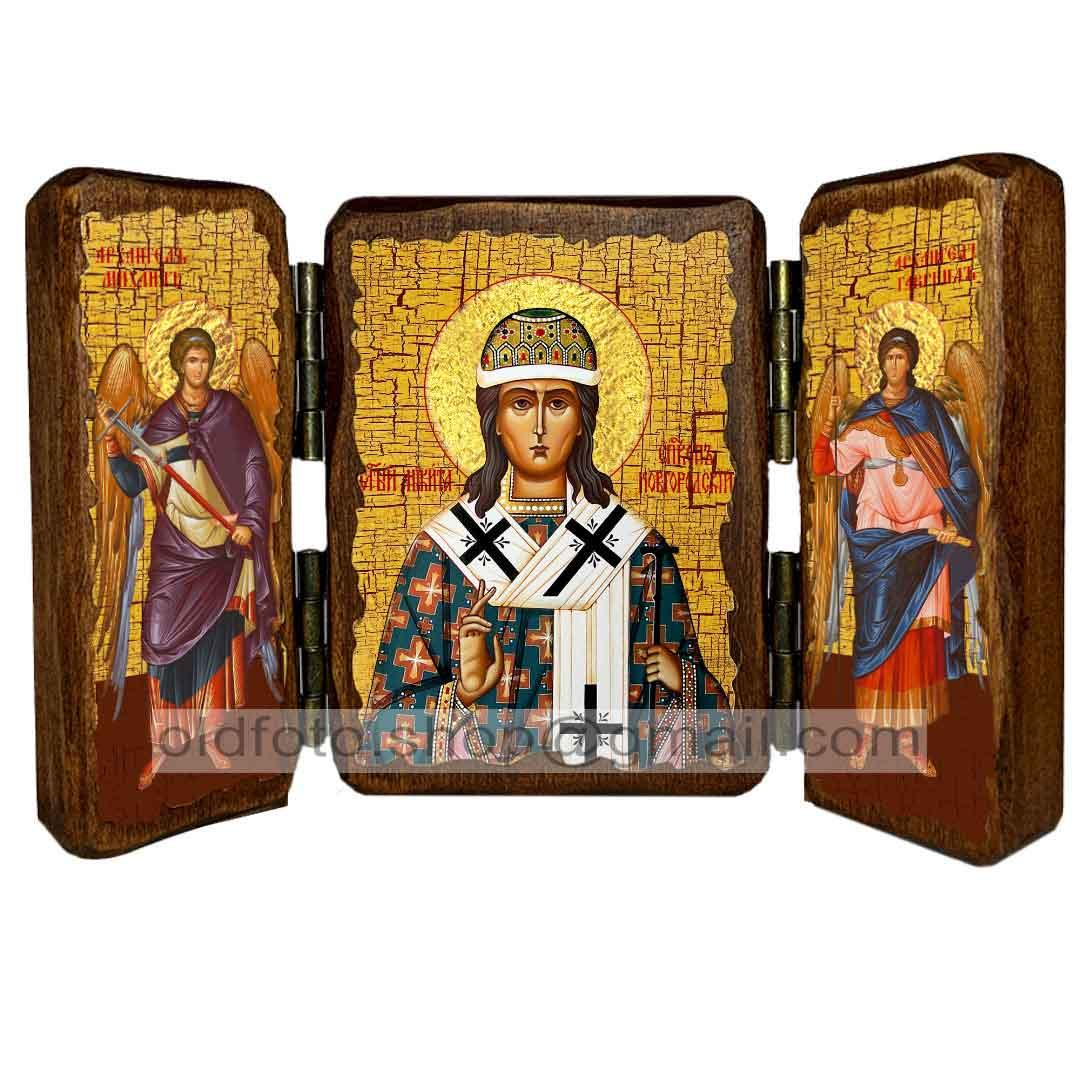 Ікона Микита Новгородський (складень потрійний 260х170 мм)