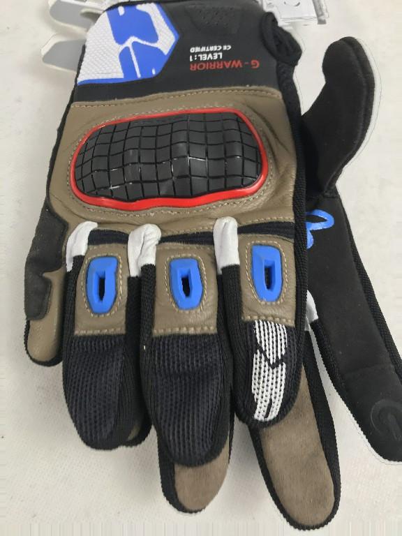 Шкіряні мотоперчатки бежево-блакитні G-Warrior B94 італійської марки SPІDІ розмір L