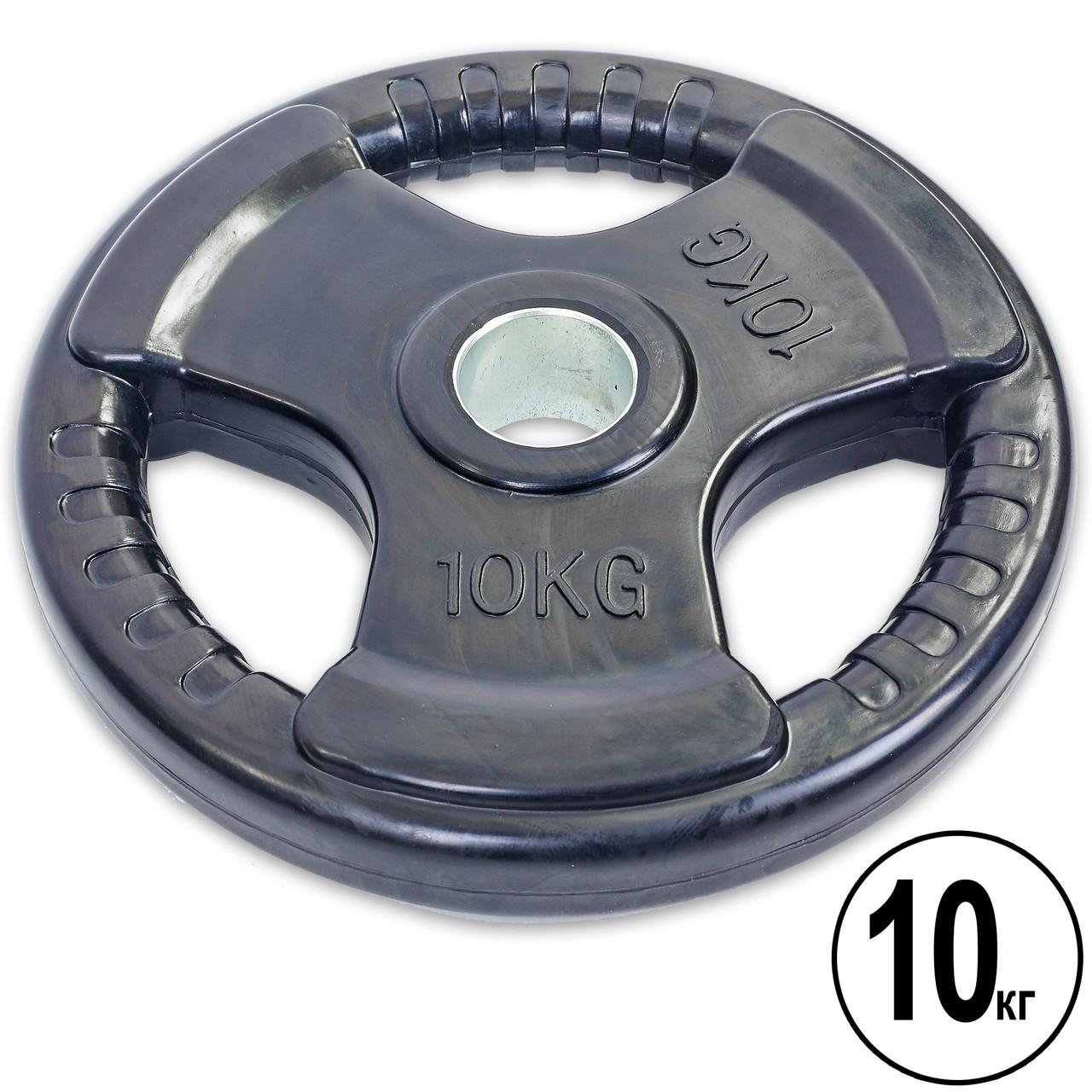 Блины (диски) обрезиненные с тройным хватом и металлической втулкой d-52мм Record 10кг (черный)