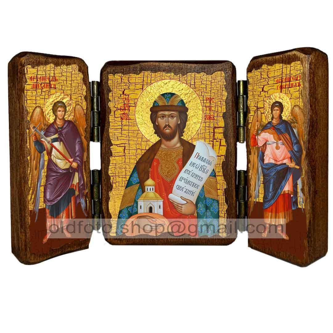 Икона Ростислав Святой Благоверный Князь (складень тройной 140х100мм)