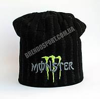 Шапка Monster Energy черная, подклад из флиса